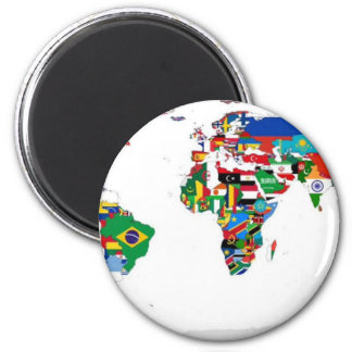 Flagged World - Map of Flags of the World 2 Inch Round Magnet
