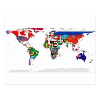 Flagged World - Map of Flags of the World Postcard