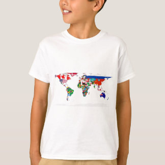 Flagged World - Map of Flags of the World T-Shirt
