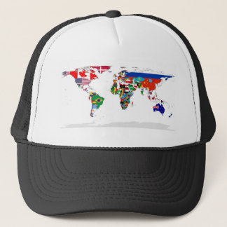 Flagged World - Map of Flags of the World Trucker Hat
