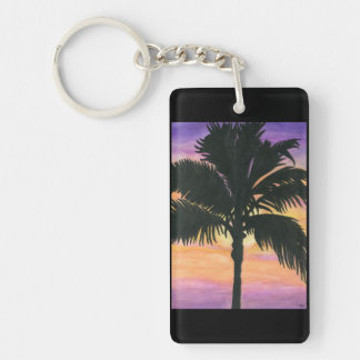 Flagler Beach Palm Tree Rectangle Acrylic Keychains