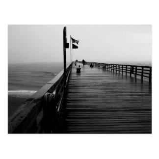 Flagler Beach Pier Black and White Photography Postcard