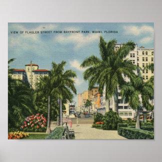 Flagler St., Miami, Florida Vintage Poster