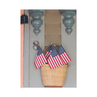 Flags and Basket, Martha's Vineyard Cottage Canvas Print