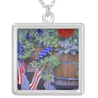 Flags and Flowers in Philipsburg Montana Silver Plated Necklace