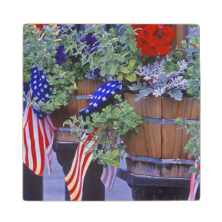 Flags and Flowers in Philipsburg Montana Wood Coaster
