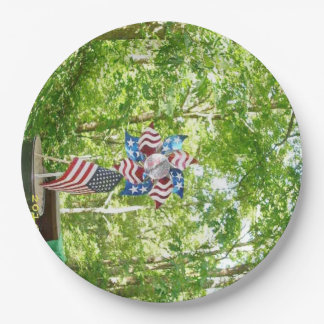 Flags and PinWheel Patriotic Paper Plate 9 Inch Paper Plate