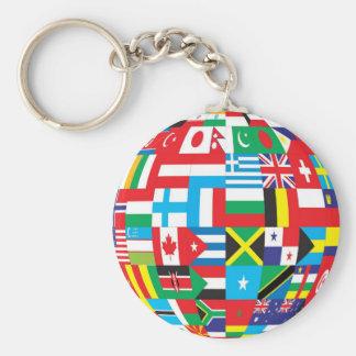 Flags Around the World Globe Basic Round Button Keychain