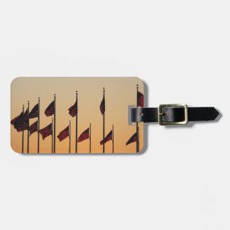 Flags at Sunset I American Patriotic USA Bag Tags