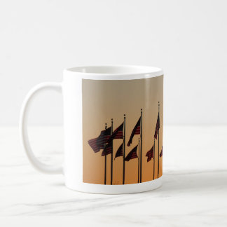 Flags at Sunset I American Patriotic USA Coffee Mug