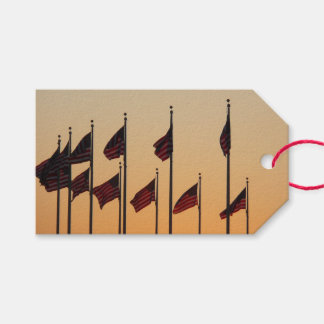 Flags at Sunset I American Patriotic USA Gift Tags