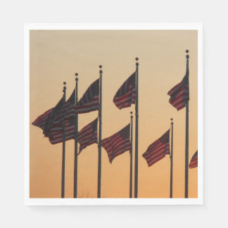 Flags at Sunset I American Patriotic USA Paper Napkins