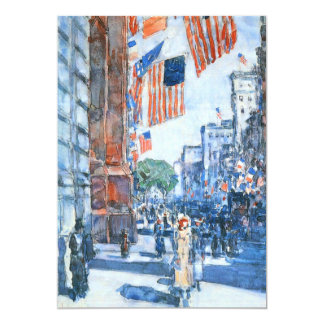 Flags, Fifth Avenue, Hassam, Vintage Impressionism 5x7 Paper Invitation Card