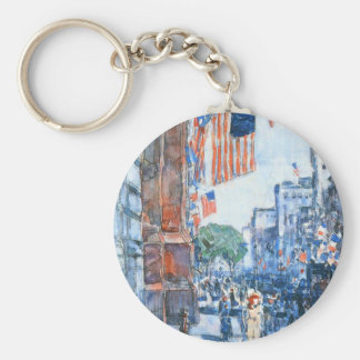 Flags, Fifth Avenue, Hassam, Vintage Impressionism Keychain
