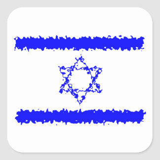Flags Israel Blue Country Square Sticker