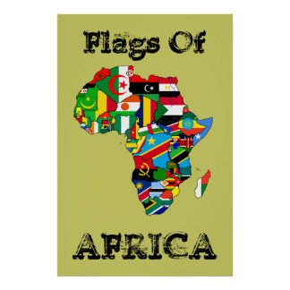 "Flags of Africa 36"" by 24"" Vintage Africa flag Map Poster"