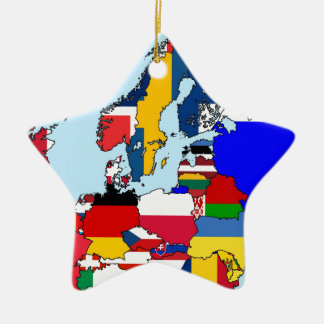 FLAGS OF EUROPE MAP CERAMIC ORNAMENT