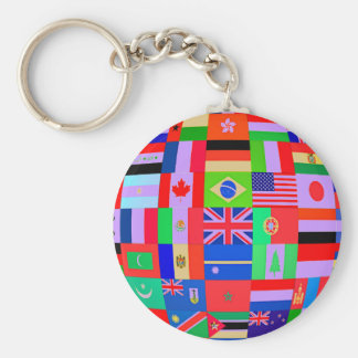 FLAGS OF THE GLOBE BASIC ROUND BUTTON KEYCHAIN