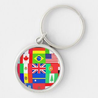 FLAGS OF THE GLOBE Silver-Colored ROUND KEYCHAIN
