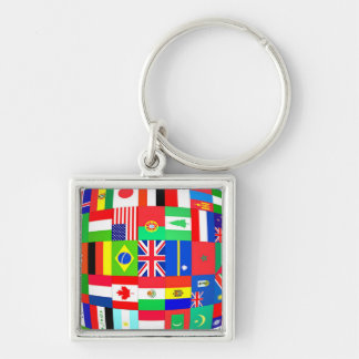 FLAGS OF THE GLOBE Silver-Colored SQUARE KEYCHAIN