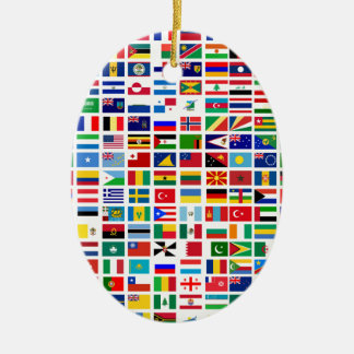 flags of the world against white ceramic ornament