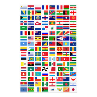 flags of the world against white stationery