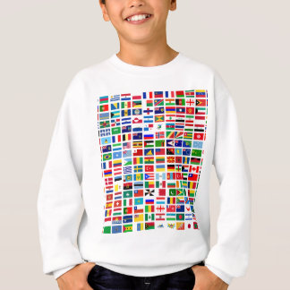flags of the world against white sweatshirt