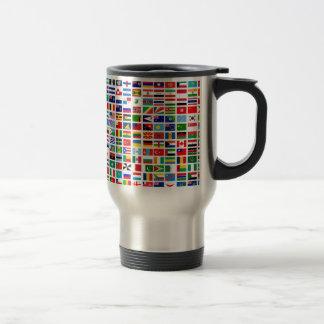 flags of the world against white travel mug