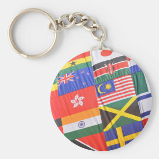 Flags of the world basic round button keychain