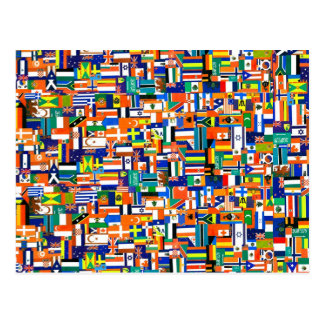 Flags of the World Decoupage Postcard