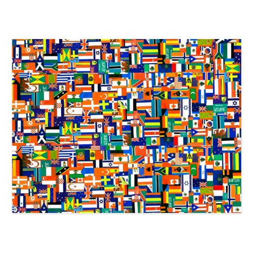 """""""Flags of the World"""" Decoupage Postcard"""