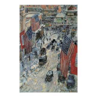 Flags on 57th Street by Childe Hassam, Vintage Art Poster