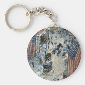Flags on 57th Street, Hassam Vintage Impressionism Key Chain