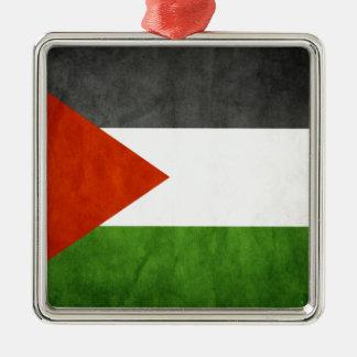 flags palestine Silver-Colored square ornament