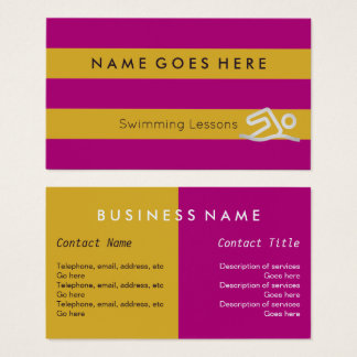 """""""Flags"""" Swimming Instructor Business Cards"""
