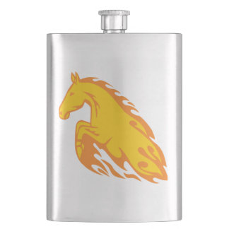 Flamboyant Fired Flame Horse Hip Flask