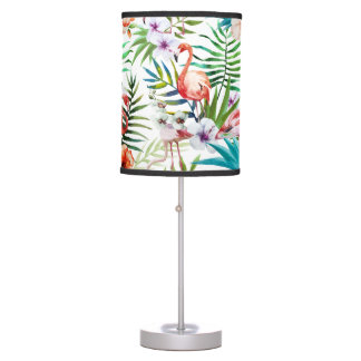 Flamboyant Flamingo Tropical nature garden pattern Desk Lamp