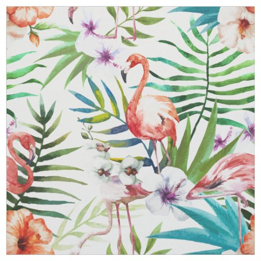 Flamboyant Flamingo Tropical nature garden pattern Fabric