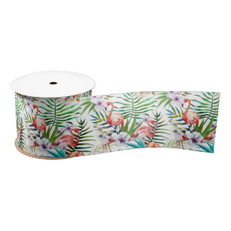 Flamboyant Flamingo Tropical nature garden pattern Satin Ribbon