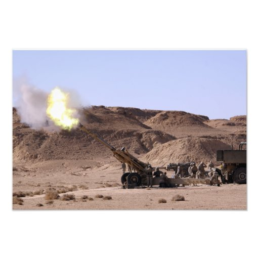 Flame and smoke emerge from the muzzle photographic print