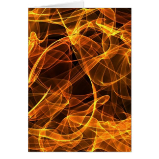 flame art orange greeting card