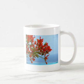 Flame Blossoms On An Ocean Of Blue Coffee Mug