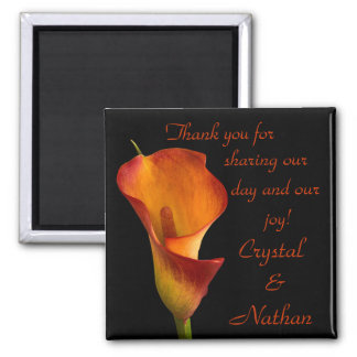 Flame Calla Lily Square Magnet