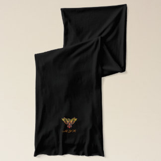 Flame-colored Phoenix Rising - embossed look Scarf