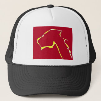 Flame dog art red trucker hat