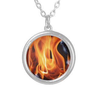 Flame-focus Silver Plated Necklace