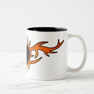 Flame Heart Tattoo Two-Tone Coffee Mug
