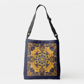 Flame Hearts in Blue and Gold Bag