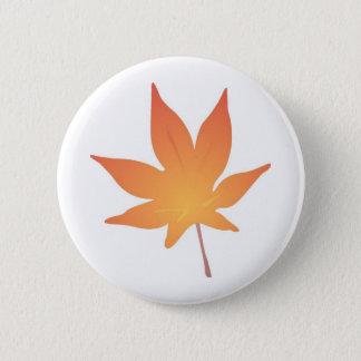 Flame Orange Leaf 2 Inch Round Button