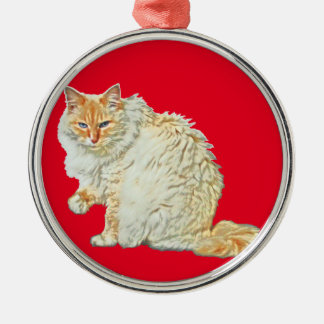 Flame point siamese cat 2 metal ornament